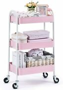 3 Tier Rolling Cart Easy Assemble Utility Serving Cart Sturdy Storage Metal Cart