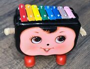 Vintage Walking Baby Face Xylophone Tin Metal Battery Operated Toy Walks And Plays