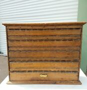 Early 20th Century General Store Apothecary Label Cabinet