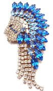 American Native Indian Face Brooch,gold Plated Blue Crystal Antiques Road Show