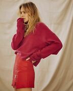 Free People Solitaire Cashmere V Sweater Jumper Raspberry Red X-small Rrp 128