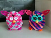 2 Furby Boom Talking Interactive Toy Teal Pink Hearts And Blue Orange Pink Stripes