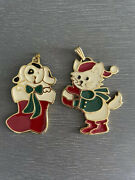 Wallace Silversmiths Christmas Cookie Ornaments Puppy Kitten Solid Pewter 2 Pcs