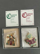 Wallace Silversmiths Christmas Cookie Ornaments House + Caroler Solid Pewter 2pc