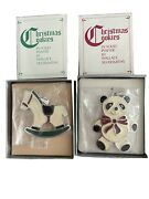 Wallace Silversmiths Christmas Cookie Ornaments Panda + Rocking Horse Pewter 2pc