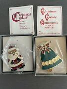 Wallace Silversmiths Christmas Cookie Ornaments Santa + Bell Solid Pewter 2 Pcs