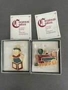 Wallace Silversmiths Christmas Cookie Ornaments Train + Jack-in-the-box Pewter