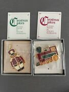 Wallace Silversmiths Christmas Cookie Ornaments Train + Toy Soldier Solid Pewter