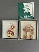 Wallace Silversmiths Christmas Cookie Ornaments Toy Soldier + Teddy Bear Pewter
