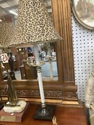 Dale Table Lamp Leopard Shade Victorian Fabric Shade-vintage
