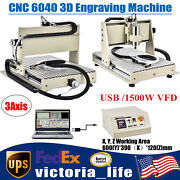 Usb 3 Axis 6040 Cnc Router Engraver Wood Pcb Pvc Carving Milling Machine 1.5kw