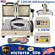 Usb 3 Axis Cnc 6040 Router Engraver Wood Pcb Carving Machine 1.5kw+controller