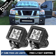 3.5 Square Led Pods Light Work Spot Driving Fog Lamps Offroad 4wd Atv Truck Suv