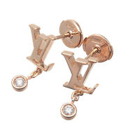 Authentic Louis Vuitton Puce Idylle Blossom Earrings Rose Gold Q96549 Used F/s