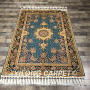 4and039x6and039 Handmade Silk Carpet Valuable Blue Oriental Antistatic Area Rug Ywx062a