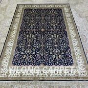 4.5and039x6.5and039 Handmade Silk Area Rug Blue Indoor Luxury Home Office Carpet H318b
