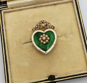Carrington And Co Edwardian 15k Gold Pearls And Guilloche Enamel Heart Brooch 1904