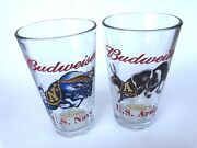 Vintage Budweiser Salutes Us Army And Us Navy Pint Glasses