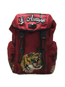 Backpack Red Embrodary Applique Tiger 429037 With Storage _5517