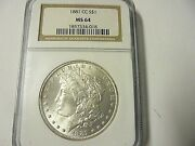 1881 Cc-morgan Silver Dollar-a Key Coin-ms 64-ngc-only 296000 Minted Red Book