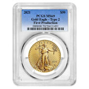 2021 50 Type 2 American Gold Eagle 1 Oz Pcgs Ms69 First Production Blue Label