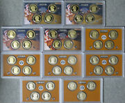 2007 Thru 2016 Presidential Dollar Proof 39 Coin Set In Government Holders