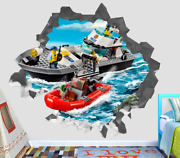 Lego City Police Boat Custom Wall Decals 3d Wall Stickers Art Op75
