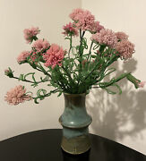 Vintage Large Centerpiece Pottery Vase With Beaded Pink Glass Flowers France
