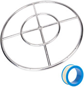 Fire Pit Ring Burner Stainless Steel Round Gaspro 24 Inch Natural Gas Propane