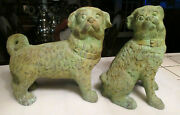 A Pair Of Antique Vintage 10 Pug Dog Cast - Green Patina Metal Statue