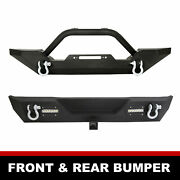 Powder Coated Front And Rear Bumper W/ D-rings For 1987-2006 Jeep Wrangler Tj Yj