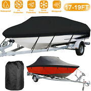 17-19ft 210d Waterproof Boat Uv Protector Cover For V-hull Tri-hull Runabout Us