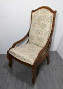 Vintage Victorian Ladies Carved Wood Parlor Arm Chair French Louis Xv Style