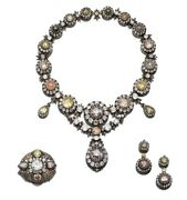 Vintage 925 Silver Empress Of Russia Diamond Necklace Set On Sale 20 Discount