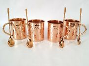 Indian Handmade Moscow Mule Copper Mugs 16 Oz 4 Cocktail Stirrers 4 Mugs Sets
