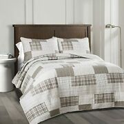 Lush Decor Taupe Greenville 3 Piece Quilt Set Full/queen