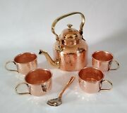 Pure Copper Hammered Tea Pot Kettle With 4 Serving Tea Cups Set Halloween Gift