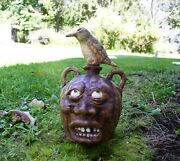 Face Jug And Bird Stopper High Fired Stoneware 1 Of A Kind Folk Art By Berdej