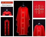 Catholic Church Priest Embroidery Chasuble With Stole Red Vestment