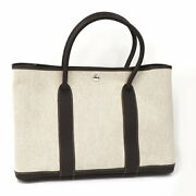 Hermes Garden Party Pm Tote Bag Canvas Twal Ash Natural Ivory _20523
