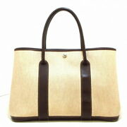 Hermes Garden Party Pm Tote Bag Silver Fittings Ivory Dark Bro _20632