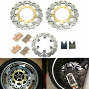 Wave Front Rear Brake Discs Rotors + Pads Yzf R1 1998 1999 2000 2001 For Yamaha
