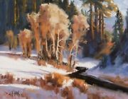 Tom Haas Painting And039coyote Creekand039 Oil Winter Snow Payson Arizona Western Realism