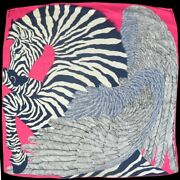 Hermes Carres 140 Zebra Pegasus Women And039s Jean Stall Until Pink White Blac _18281