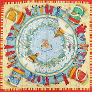 Hermes Carres 90 Carre Scarf Silk Prieres Au Vent Prayer In The Wind Clea _18719