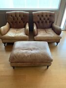 Restoration Hardware Leather Club Chairs And Ottoman