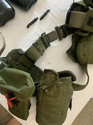 Us Military Tactical Belt And Suspenders With Two Canteens And Four Pouches