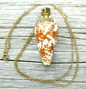 Vtg Sea Shell Pendant Necklace Poison Bottle Snuff Urn For Ashes Brass Accent