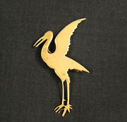 Antique Vintage Gold Filled Crane Pin Brooch Signed Crr C. Ray Randall C Clasp