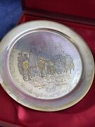 Danbury Mint 24kt Inlay On Sterling Silver Plate Washington At Vally Forge Z1147